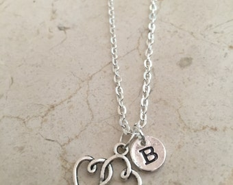 KIDS SIZE - Heart initial necklace, heart jewelry, gift for girlfriend, sweetheart necklace, Valentine's Day jewelry, silver heart necklace