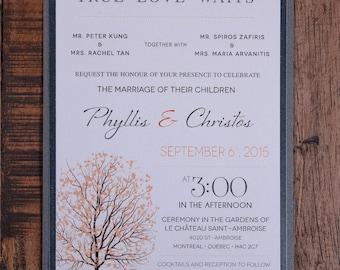 Fall Invitation, Fall Wedding Invitation, Tree Invitation, Tree Wedding Invitation, Tree Wedding Invitations,Tree Invitations, rustic invite