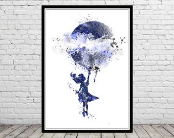 Alice with a moon, Alice in wonderland, girl nursery, blue moon, watercolor moon, moon art, moon print, watercolor Alice, Alice print