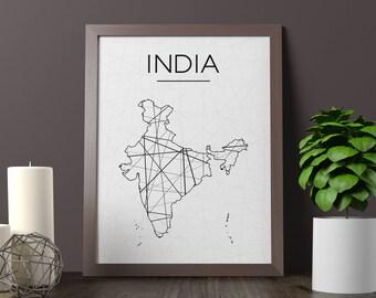 India Map, India Wall Art, India Art, India Poster, India Room Decor, India Print, India Printable, Instant Download