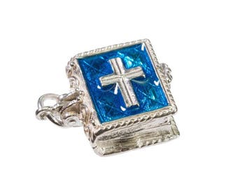 Sterling Silver  Opening Enamelled Holy Bible Charm For Bracelets