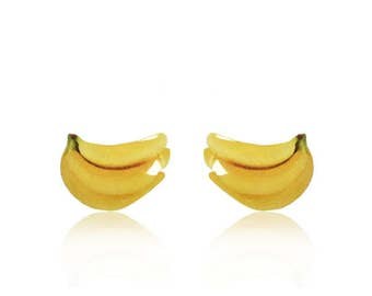 Fruit Earrings  - Banana Earrings - Stud Earrings - Miniature Food Earrings - Surgical Steel Posts - Great For Sensitive Ears