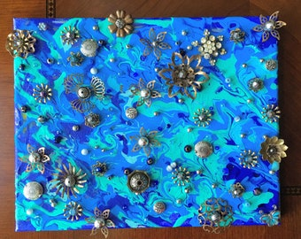 Mixed media abstract painting with vinatge peices blue