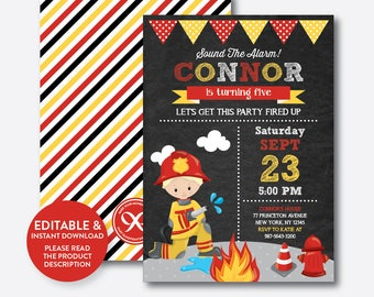 Instant Download, Editable Fireman Birthday Invitation, Fireman Invitation, Firefighter Invitation,Firetruck Invitation,Chalkboard(CKB.518B)