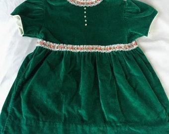 Vintage Peaches & Cream Green Dress