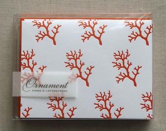 Branch Coral Letterpress Card Set