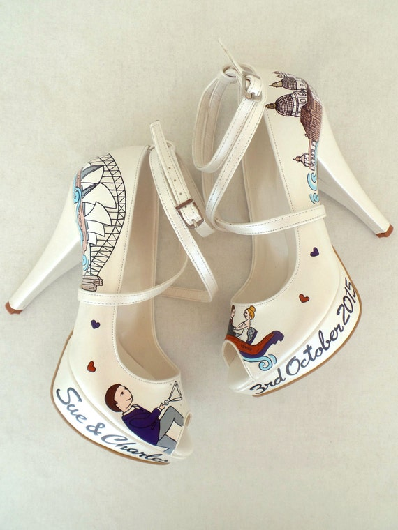 Wedding Shoes Personalized Handpainted Shoes Bridal Orange Purple B1Tqa8Hw