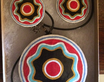Choctaw flower medallion gourd necklace and earring set