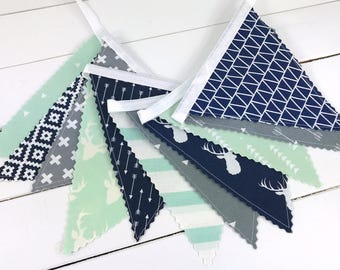 Woodland Nursery Bunting Banner Garland Baby Boy Nursery Decor Fabric Bunting Baby Shower Navy Blue Mint Stag Gray Deer Arrow Tribal