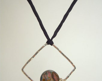 Fused Hammered Pure Silver Large Square Pendant Framing a Round Abalone Disc Bead on Hand-dyed Black Silk Cord