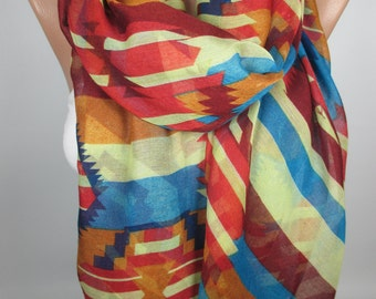 Tribal scarf Aztec scarf Oversize scarf Bohemian Scarf Fall Winter scarf Women Fashion Accessories Christmas Gift For Her Gift For Women
