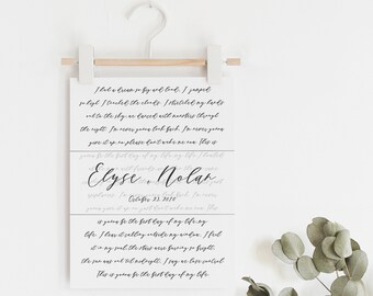 Wedding Song Print - First Dance Song - Wedding Song Lyrics - Song Lyric Art - First Anniversary Gift - Wedding Gift - Frame Not Included
