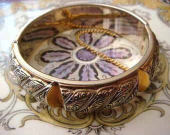 Vintage 1950s Spanish Damascene Bangle Bracelet, Very Good Cond. Great Chunky Bangle! Vintage Jewellery.