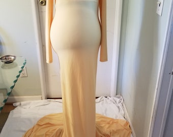 Yellow Maternity Gown, Photo Prop, Homemade