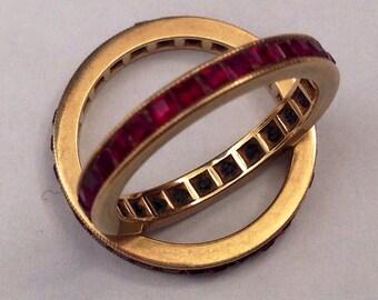 Ruby Rings, Full Set Princess Cut Guard Rings or Eternity Band Rings in  Size 6.5 US
