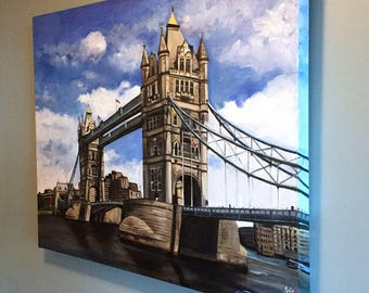 London Tower Bridge Oil Painting - 30x24