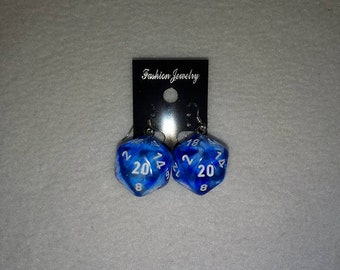 Chessex™ Nebula D20 Dark Blue W/White Sterling Silver Shepherds Hooks with Loop earrings - 16mm