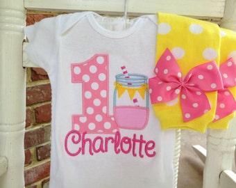 Baby Girl First Birthday Outfit -- Pink Lemonade -- bodysuit and leg warmers in hot pink, pink & yellow mason jar