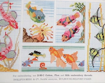 Vintage cross stitch embroidery book 1920s 1950s - Marking Stitch 5th Series -  DMC Library - animals insects fish wildlife birds of prey