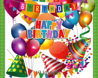Happy Birthday - Clipart images for scrapbook and paper crafts.