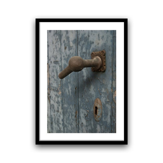 Door Photography, Old Door, Fine Art Print, Abandoned Urban Decay, Paris photography, French Home Decor, 5x7, 8x10, Blue and Brown