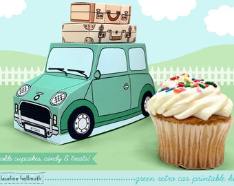 green retro car -  cupcake box holds cookies and treats, gift and favor box, party centerpiece printable PDF kit - INSTANT download