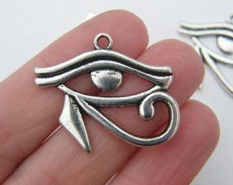 4 Eye of Horus pendants antique silver tone WT70