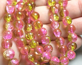 Grün und rosa Knistern Glas 8mm Perlen, rosa Perlen, Glasperlen, 8mm Rosa Perlen
