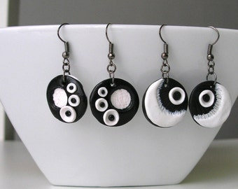 Black and white earrings, modern earrings, polymer clay jewelry, contemporary jewelry, unique jewelry, handmade, unique earrings