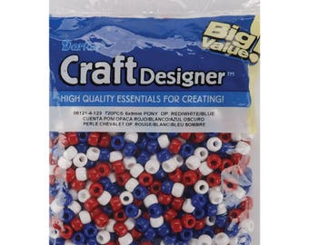 Darice Craft Designer Pony Beads Red White  Blue Colors Plastic 6 x 9mm Size 720/Pack