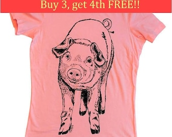 Womens Graphic Tee - Pig TShirt - Pink Womens Tops - Trendy Womens Clothing - Pink Tops for Women - Animal Tshirt  S M L XL XXL