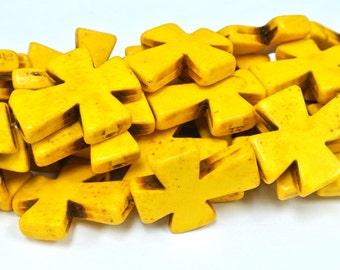"Yellow Cross Beads, Large Crosses, 35x30mm Magnesite Crosses, Yellow Howlite Crosses, 16"" Strand, 11 PCS, Cross Jewelry, Wholesale Beads"