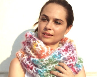 Hand Knit Infinity Circled Scarf Convertible to Mohair Long Shrug, Women Accessories by Solandia, spring winter fashion, quality knitting