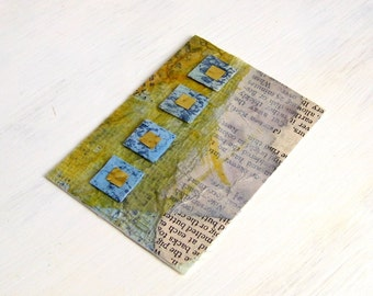ACEO, textured mini art card collage olive
