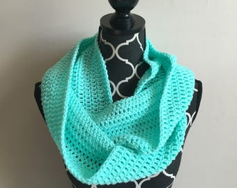 Mint crocheted infinity scarf