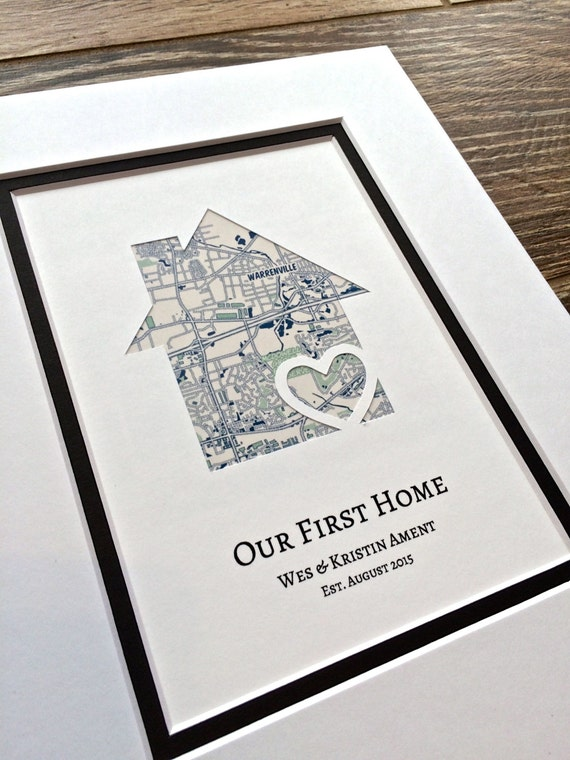 Our first home personalized home map matted gift first home for Housewarming gifts for boyfriend