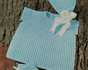 Baby dress knitting pattern with bonnet and bootees vintage knitting pdf INSTANT download pattern only 4 ply