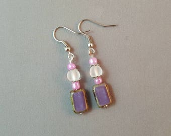 Pink & Purple Dangle Earrings Drop Earrings Beaded Earrings Boho Jewelry Handmade Earrings Crystal Earrings Statement Boho For Mother Mom