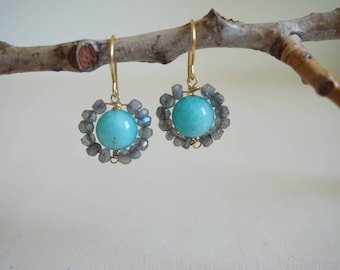 Labradorite and amazonite aster earrings, daisy earrings, antique style, labradorite jewelry, unique earrings