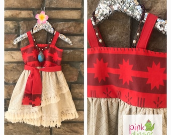 Moana dress 12m to girls size 10 for birthday, parks, party outfit, christmas gift