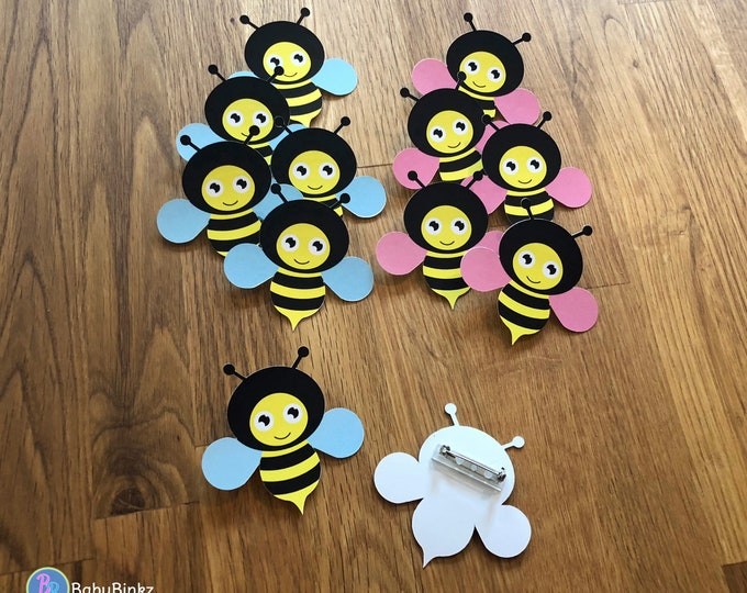 Party Pins: Baby Bumble Bees - Set of 12 - Gender Reveal Party Baby Shower Die Cut Pink Girl Blue Boy Vote Game