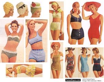 Vintage 1960s Women Swimsuits, Beachwear, Bathing Caps, Printable Digital Collage Sheet SW625