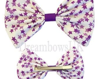 Large star design fabric hair bows on alligator clip, girls big hair accessory bows, party hair bows, fashion bows for girls, hair clips