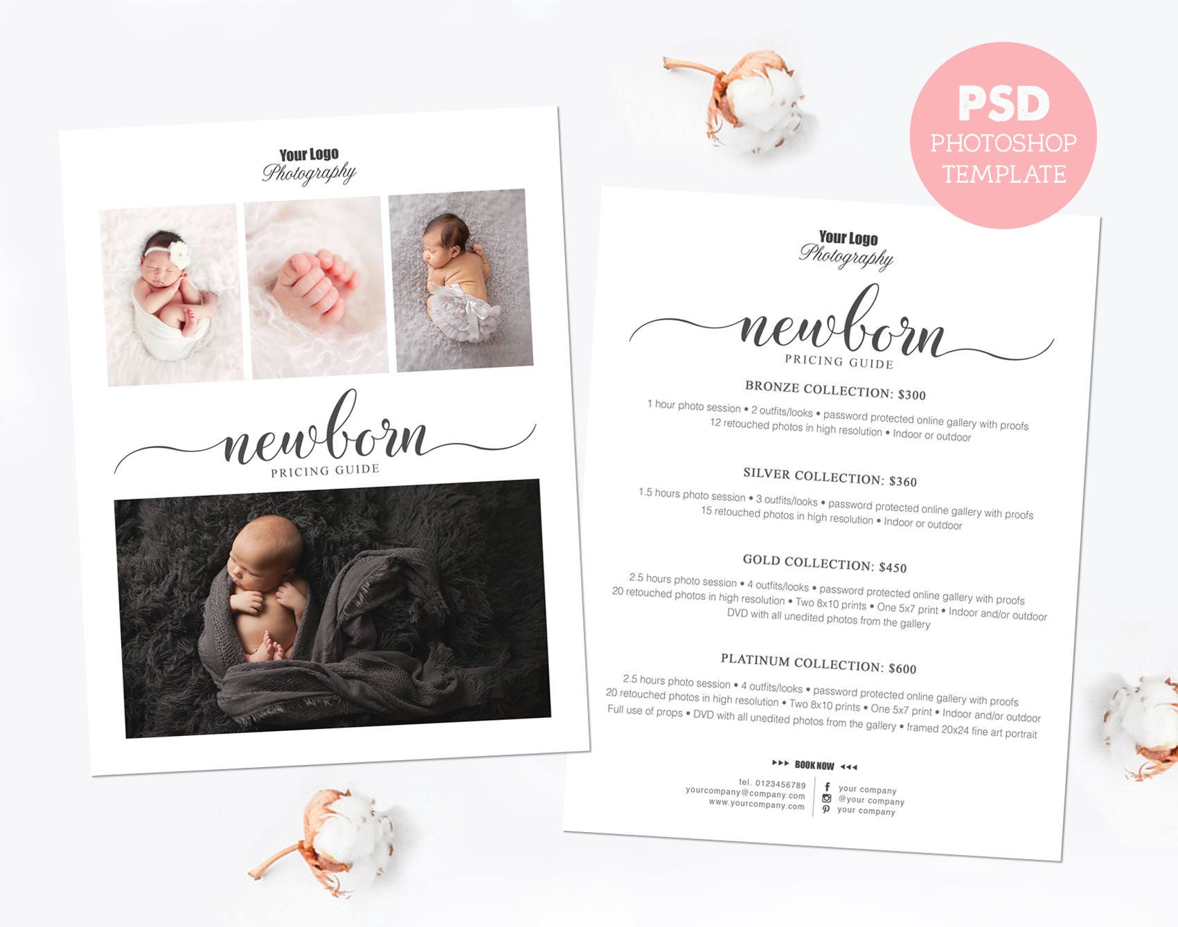 Pricing template. Newborn photography price list. Marketing