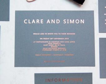 SAMPLE PACK-Rose gold wedding Invitation, Copper foil wedding Invitation,Grey and copper wedding Invitation,contemporary wedding Invitation,
