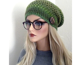 Boho Slouchy Hat, Hand Crocheted Winter Hat, womens Slouch hat, Teens slouchy hat, Hippie Beanie, Shades of Green, Wool Blend