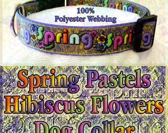 Polyester Webbing Spring Theme Pastels Hibiscus Flowers on a Bed of Lemon Yellow and Lilac Designer Novelty Dog Collar