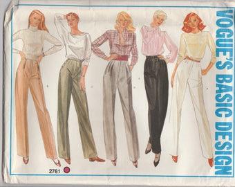 High Waisted Pants Pattern Vogue 2761 Size 16 Uncut
