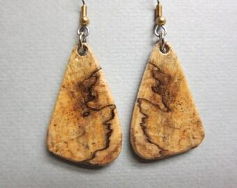 Unique Exotic Wood Earrings Spalted Hackberry handcrafted ExoticwoodJewelryAnd ecofriendly