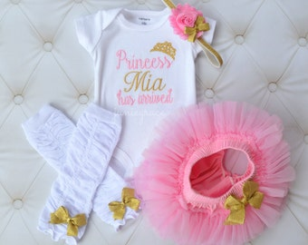 Baby Girl Clothes Baby Girl Outfit Baby Girl Coming Home Outfit Princess Has Arrived Gold and Pink Newborn Baby Girl Outfit Baby Girl Gift